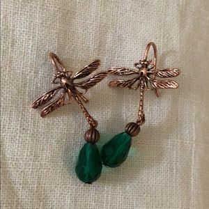 Jewelry - Handmade artisan dragonfly crystal earrings